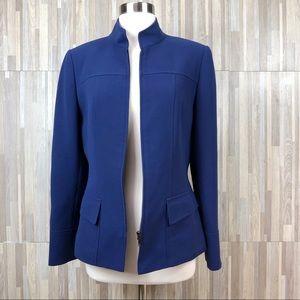Tahari Arthur S Levine | Blue Zip Front Blazer 6